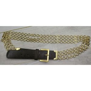 The Limited Gold Link & Faux Leather Belt